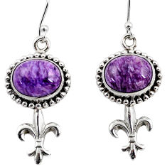 10.18cts natural purple charoite (siberian) 925 silver dangle earrings r47626