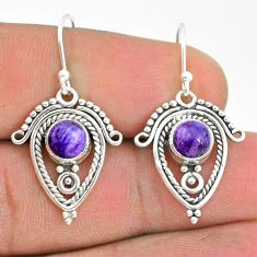 2.78cts natural purple charoite (siberian) 925 silver dangle earrings t32781