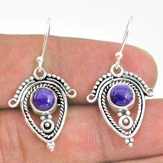 2.90cts natural purple charoite (siberian) 925 silver dangle earrings t32803