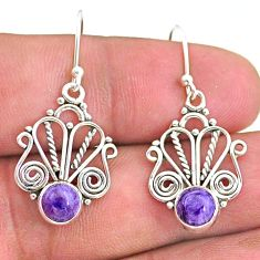 2.72cts natural purple charoite (siberian) 925 silver dangle earrings t32885