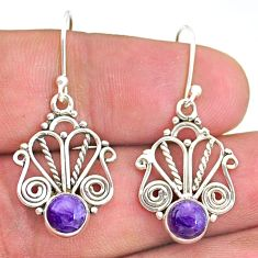2.58cts natural purple charoite (siberian) 925 silver dangle earrings t32886