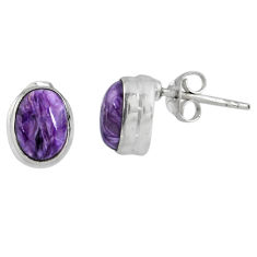 2.81cts natural purple charoite (siberian) 925 silver stud earrings r56305