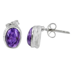 2.69cts natural purple charoite (siberian) 925 silver stud earrings r56309