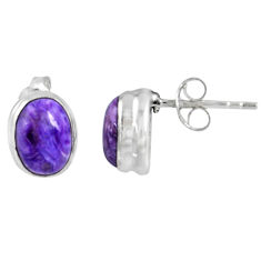 2.59cts natural purple charoite (siberian) 925 silver stud earrings r56312