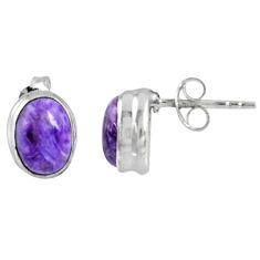 3.64cts natural purple charoite (siberian) 925 silver stud earrings r56443