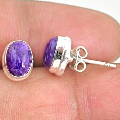 4.79cts natural purple charoite (siberian) 925 silver stud earrings r84786