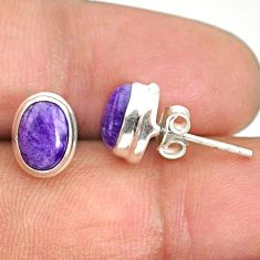 4.22cts natural purple charoite (siberian) 925 silver stud earrings r84797