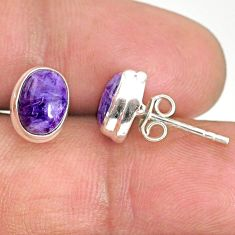 4.06cts natural purple charoite (siberian) 925 silver stud earrings r84818
