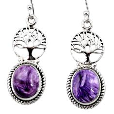 9.63cts natural purple charoite (siberian) silver tree of life earrings r47624