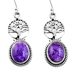 9.52cts natural purple charoite (siberian) silver tree of life earrings r53722