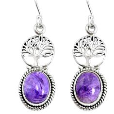 9.56cts natural purple charoite (siberian) silver tree of life earrings r74881