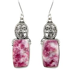 Clearance Sale- 20.07cts natural purple lepidolite 925 sterling silver dangle earrings d39606