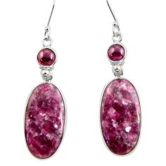 Clearance Sale- 24.06cts natural purple lepidolite garnet 925 silver dangle earrings d39702