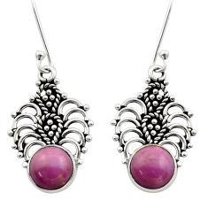 6.39cts natural purple phosphosiderite (hope stone) 925 silver earrings d40862