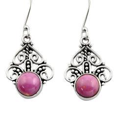 5.54cts natural purple phosphosiderite (hope stone) 925 silver earrings d40865