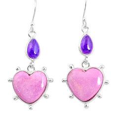 14.95cts natural purple phosphosiderite (hope stone) 925 silver earrings r86869