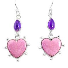 13.24cts natural purple phosphosiderite (hope stone) 925 silver earrings r86873
