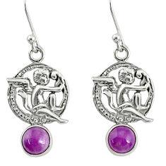 1.70cts natural purple phosphosiderite silver angel wings fairy earrings r76536