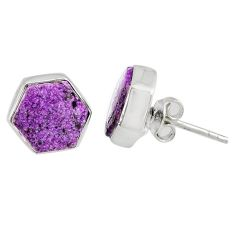 6.80cts natural purple purpurite stichtite 925 silver stud earrings r80274