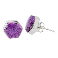 6.64cts natural purple purpurite stichtite 925 silver stud earrings r80282