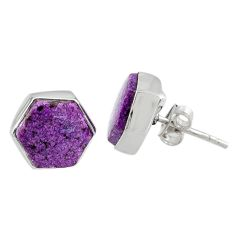 6.67cts natural purple purpurite stichtite 925 silver stud earrings r80283