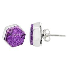 7.24cts natural purple purpurite stichtite 925 silver stud earrings r80297