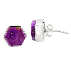 6.73cts natural purple purpurite stichtite 925 silver stud earrings r80300