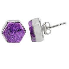 7.17cts natural purple purpurite stichtite 925 sterling silver earrings r80313