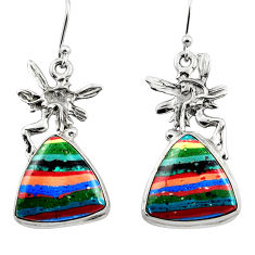 15.82cts natural rainbow calsilica 925 silver angel wings fairy earrings r45282