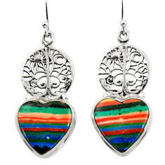 17.11cts natural rainbow calsilica 925 silver tree of life earrings r45302