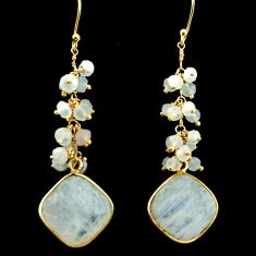 22.79cts natural rainbow moonstone 925 silver 14k gold dangle earrings r31574