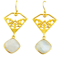 12.98cts natural rainbow moonstone 925 silver 14k gold dangle earrings r31593