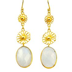 13.84cts natural rainbow moonstone 925 silver 14k gold dangle earrings r31613