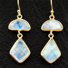 12.91cts natural rainbow moonstone 925 silver 14k gold dangle earrings r31659