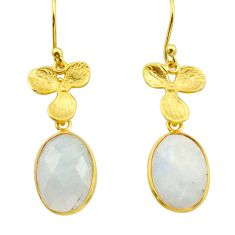 11.68cts natural rainbow moonstone 925 silver 14k gold dangle earrings r31696