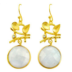 17.57cts natural rainbow moonstone 925 silver 14k gold dangle earrings r31718