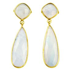 25.61cts natural rainbow moonstone 925 silver 14k gold dangle earrings r31735