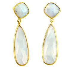26.71cts natural rainbow moonstone 925 silver 14k gold dangle earrings r31736