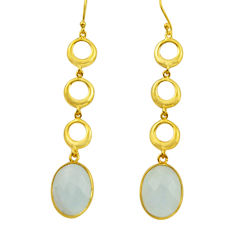 18.25cts natural rainbow moonstone 925 silver 14k gold dangle earrings r31753