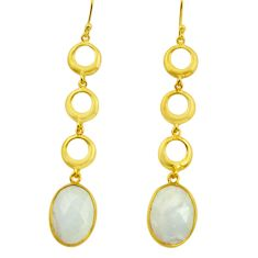 17.91cts natural rainbow moonstone 925 silver 14k gold dangle earrings r31756