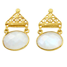 18.62cts natural rainbow moonstone 925 silver 14k gold dangle earrings r31774