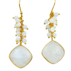 22.88cts natural rainbow moonstone 925 silver 14k gold dangle earrings r31780