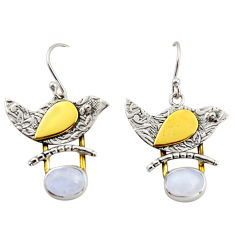 4.38cts natural rainbow moonstone 925 silver 14k gold dangle earrings r37122