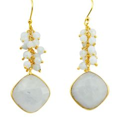 22.48cts natural rainbow moonstone 925 silver 14k gold dangle earrings r38480