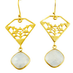 16.20cts natural rainbow moonstone 925 silver 14k gold dangle earrings r38691