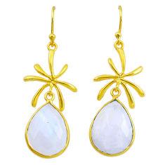 15.43cts natural rainbow moonstone 14k gold handmade dangle earrings t11416