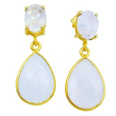 13.13cts natural rainbow moonstone handmade14k gold dangle earrings t16498