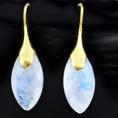 14.72cts natural rainbow moonstone 925 silver 14k gold dangle earrings t44097