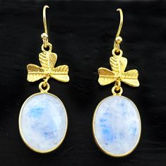 14.23cts natural rainbow moonstone 925 silver 14k gold dangle earrings t44098
