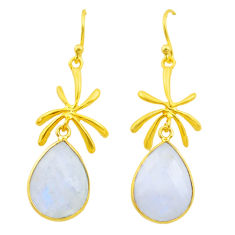 11.60cts natural rainbow moonstone 925 silver 14k gold dangle earrings t44119